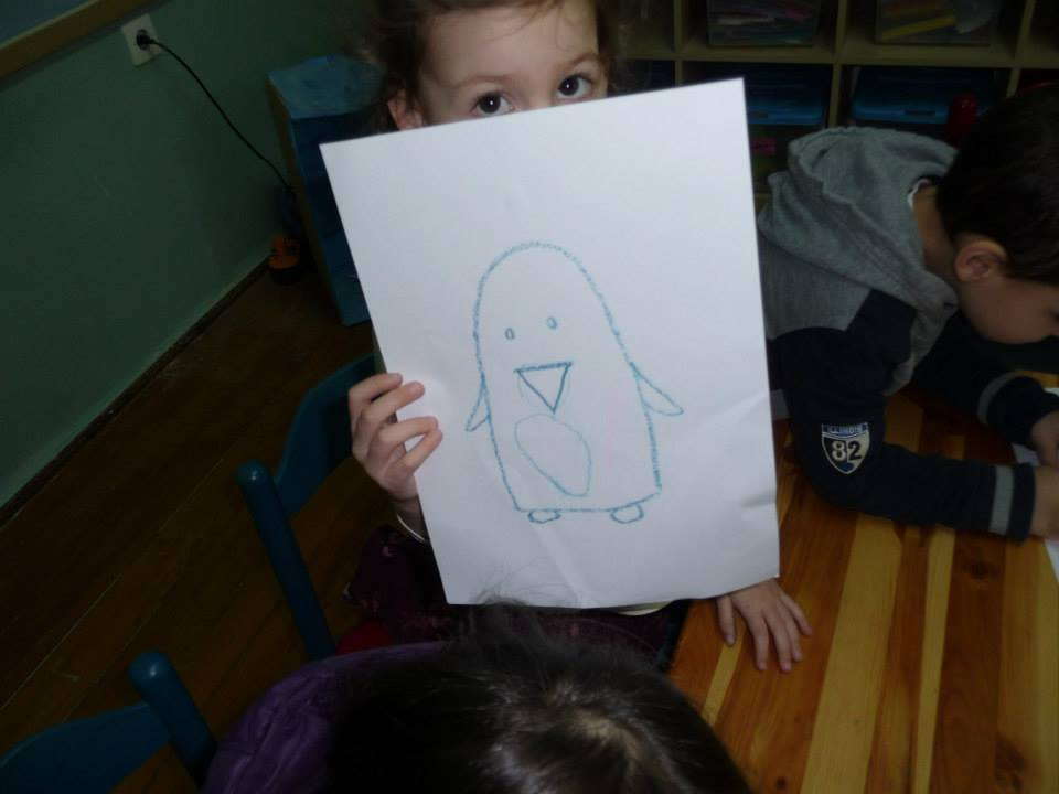 The beginnings of a penguin portrait.